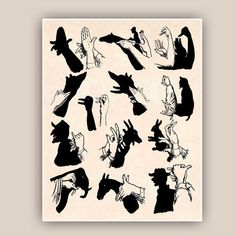 Illustration Kids Shadow puppet graphic Shadow hand puppets from PrintLand on Etsy Kids Room Art, Art Wall Kids, Art Kids, Shadow Puppets With Hands, Lion King Poster, Dandelion Wall Art, Hand Shadows, Watercolor Flower, Childrens Wall Art