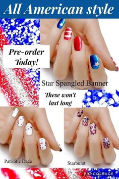 High Quality Nail Wraps Apple Cider Vinegar For Skin, Star Spangled Banner, Nail Wraps, 4th Of July, Nails, Beauty, Design, Beleza, Independence Day