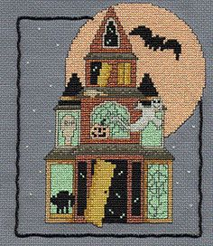 Haunted Kreinik House, free cross stitch project using Kreinik glow in the dark threads