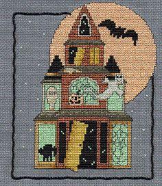 Haunted Kreinik House, free cross stitch project using Kreinik glow in the dark threads