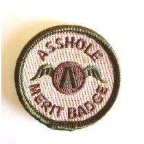 I have more than a few people in my life who have earned this!!!! KM Outfitters® Asshole Merit Badge - Patch
