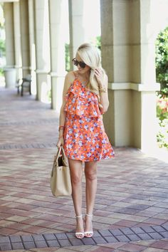 Orange and Blue Floral