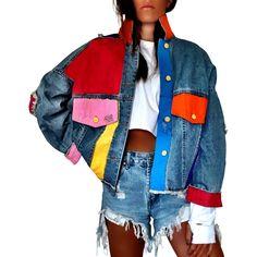 LifeHe Men Denim Jacket with Patches Light Blue Painted Denim Jacket, Painted Jeans, Painted Clothes, Hand Painted, Denim Paint, Diy Jeans, Jeans Pants, Denim Kunst, Denim Jacket Patches