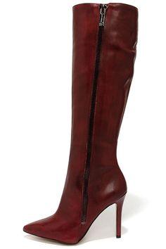 Jessica Simpson Capitani Oxblood Leather High Heel Boots at Lulus.com!