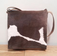 Leather Messenger Bag Cowhide Brown And White New Zealand Small Travel