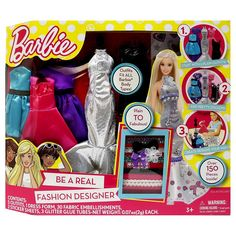 Design your own Barbie doll fashions with the Barbie Be A Fashion Designer Dress Up Kit Kit includes 5 dresses to design and decorate with ribbons, bows, glitter, and other fun accessories! Kit dimensions: L x W x H Ages 3 and up Barbie Fashion Designer, Become A Fashion Designer, Designer Toys, Fabric Embellishment, Barbie Accessories, Barbie Collector, Barbie Dolls, Anna Dolls, Barbie Puppy