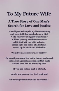 It was a rough ride. Future Wife, Criminal Justice, My Job, New Life, True Stories, My Books, Website