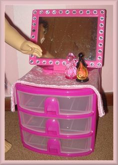 18 quot doll american girl doll bedroom vanity table made with 18903 | 2724b57de9c3e0a6ede8d18903b3ac2c