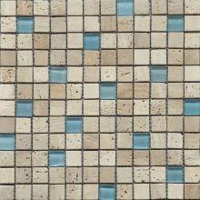 Beige Travertine & Blue Glass Mosaic Mosaics Flat Marbles, Sea Isle City, White Bathroom Tiles, Rustic Stone, Mosaic Glass, Glass Tiles, Bath Remodel, Travertine, Tile Floor