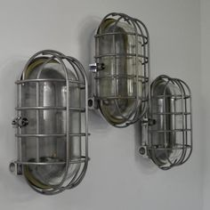 Salvaged communist bulkhead lights- In the bathroom or in a nautical vintage themed living space, fun  !