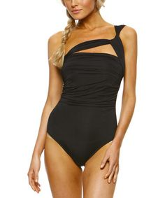 Look at this #zulilyfind! Black Asymmetrical One-Piece #zulilyfinds