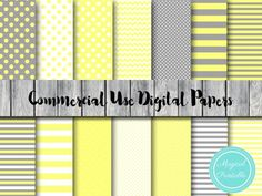 Yellow and gray digital paper, yellow and grey digital papers, elephant digital paper, neutral color dp25