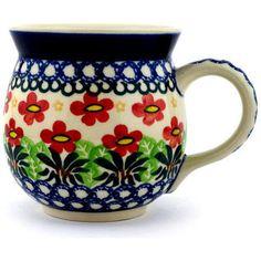 $35. Polish Pottery 16 oz Bubble Mug | Boleslawiec Stoneware | Polmedia H2167C | Polmedia