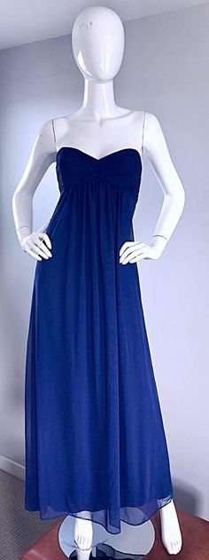 Vintage Vicky Tiel Couture Navy Blue Strapless Silk and Mesh Gown Evening Dress