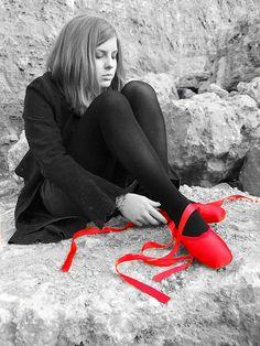 red ballet shoes,,,,color splash,,,