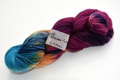 Handgefärbte Sockenwolle Muschelsucher von Wollträume auf DaWanda.com