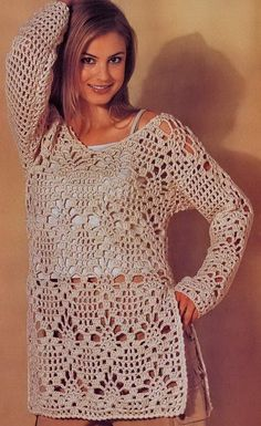 Crochet Sweater: Crochet - Crochet Tunic Pattern Would work up quickly with a worsted weight yarn.  Needs to have a belt or tie at the waistline