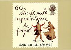 Robert Burns Royal Mail Stamp Card Series Should auld acquaintance 1996