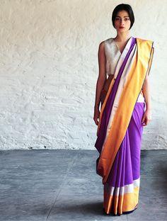 Buy Purple Yellow Jeenat Cotton Silk Saree By Raw Mango Sarees Woven Mashroo A Collection of Online at Jaypore.com