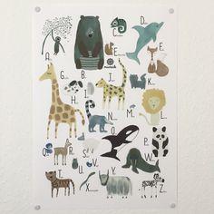 Illustrationen - Poster ABC Tiere Alphabet Illustration  A3 - ein Designerstück von miameideblog bei DaWanda
