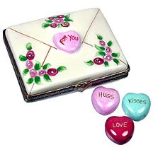Rochard love letter with candy hearts Limoges box
