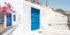 Weiße Wände, blaue Türen: Das ist Santorin © Carina Dieringer Carina, Garage Doors, Stairs, Outdoor Decor, Home Decor, Blue Doors, Backdrops, House, Nice Asses