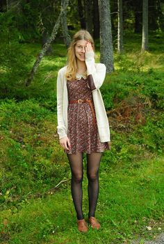 You can still wear your flowered sundress in the fall – just add tights, a warm sweater, and oxford shoes.