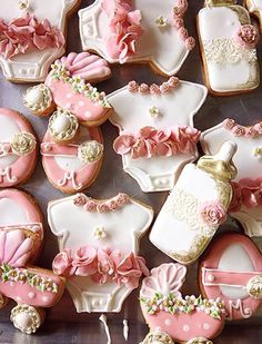 Pink Baby shower cookies, galletas decoradas