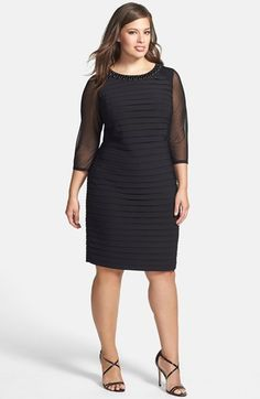 Adrianna+Papell+Embellished+Neck+Shutter+Pleat+Sheath+Dress+(Plus+Size)+available+at+#Nordstrom