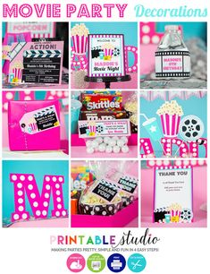 Girls Movie Party Decorations - Cute Pink and Aqua Movie Night Decorations