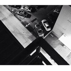 Found Abstraction roof stairs and parking lot.  Santa Monica CA #santamonica #roof #parking #cars #foundabstraction #blackandwhite