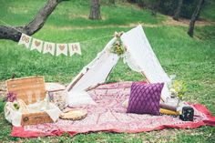 Camp inspired picnic engagement shoot, adorably styled by Poppy & Blush | Photo by Thomas Pellicer