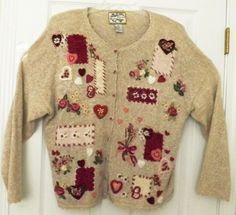 HEIRLOOM COLLECTIBLES Sz XL Pretty Hearts & Flowers Beige Ladies Cardigan #HeirloomCollectibles #Cardigan