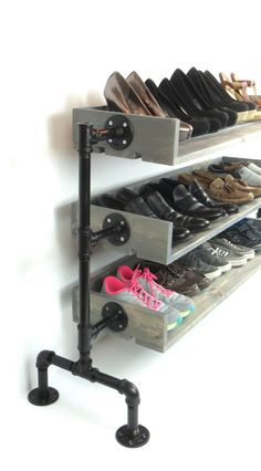 Lower prices, higher quality, better service. But dont take our word for it, read our reviews to learn more! Organize and store your shoes from the minute you walk in your home. With your new shoe rack, you will enjoy the luxury of shoe organization while at the same time displaying a beautiful piece of art that will be sure to have your guests talking. With fully customizable dimensions, any space in your home can be the perfect space for your new shoe display. All of our pipes are 3/4…
