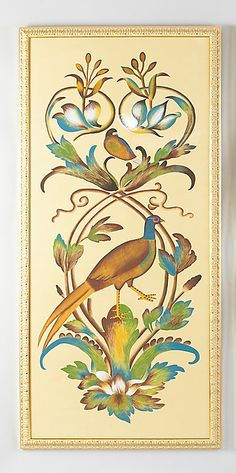 Chelsea House Borghese Bird Panel A Art Home Furnishings, Home Accessories, Rooster, Watercolor, Chelsea, Bird, House, Mix Media, Wall