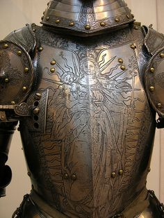 Parti d' Armature century engraved breastplate from a man-at-arms' harness Medieval Knight, Medieval Armor, Medieval Fantasy, Medieval Helmets, Dark Fantasy, Fantasy Armor, Armadura Medieval, Knight In Shining Armor, Knight Armor