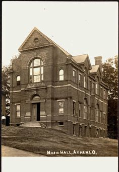 Tupper Hall (Old) as Music Hall, postcard, 1900ca. It was demolished to make way for Alden Library in the mid-1960s. :: Ohio University Archives
