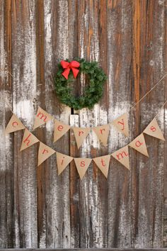 """""""Merry Christmas"""" burlap banner - could definitely be a DIY project Christmas Banners, Burlap Christmas, Christmas Minis, Merry Little Christmas, Country Christmas, Christmas Pictures, Simple Christmas, Winter Christmas, Christmas Home"""