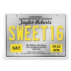 Yellow License Plate Sweet 16 Party Invitations
