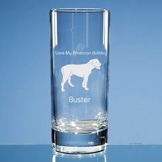 American Bulldog Dog Lover Personalised Engraved Highball Glass - Add Your Message  - Birthday Gift, Dog Lover Gift, Valentine Gift