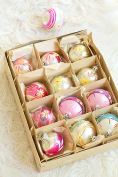 I love vintage ornaments and even the boxes. Christmas Style, Antique Christmas, Merry Little Christmas, Christmas Past, Vintage Christmas Ornaments, Retro Christmas, Christmas Baubles, Vintage Holiday, Christmas Colors