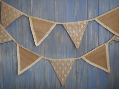 Hessian and Lace Wedding Bunting // Wedding Bunting // Wedding Decor // Rustic Wedding Decor // Barn Decor // Marquee Decor // Wedding Flags.  This lovely handmade hessian and lace bunting is the perfect decoration for any party. As it is simple and timeless it will suit any occasion, it looks great hung up at a wedding decorating marquees, barns or fields and will add a touch of magic to any christening or garden party and best stil...