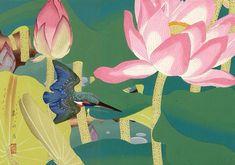 Цветок лотоса и зимородок. (700x492, 395Kb)