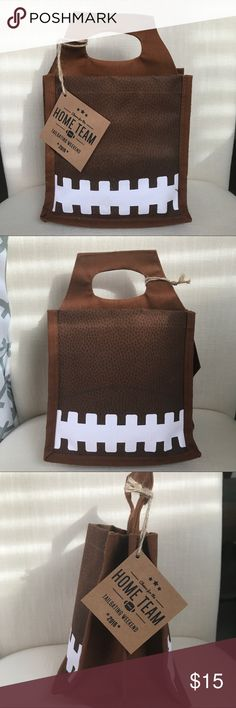 FOOTBALL BEER BAG (FATHER'S DAY) New with tags, fits a 5 pack beer bottles. Has extra pockets inside to add other items. Rustic style. Football brown, black, white details. Bags