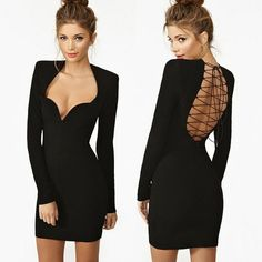 Open Back Cross Strap Long Sleeve Sexy Black Dress