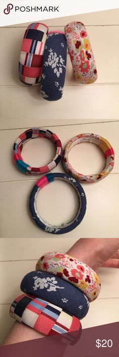 Bangle bracelets. Set of three with different fabric prints. Width of bangle is almost an inch.  Diameter is 2 1/2 inches. EUC Jewelmint Jewelry Bracelets