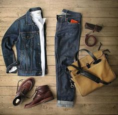Outfit grid - double denim perfection outfit grids мужская п Komplette Outfits, Casual Outfits, Men Casual, Fashion Outfits, Double Denim, Mode Masculine, Style Masculin, Look Man, Mein Style