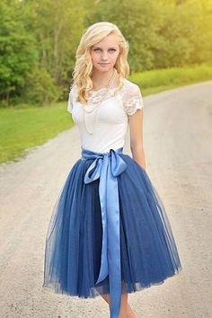 Blue tulle tutu dress with sash, short spring party skirt,