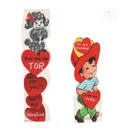 2 vintage valentines. Poodle and Fireman. 1950s Mid Century Valentine's day cards with great retro graphics. by PickleladyPapers on Etsy