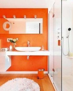 Un Si Rotundo A Los Banos De Color Naranja  C B Orange Bathrooms Yes Please